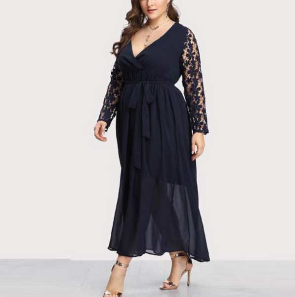 Plus-Size Sexy Hollowing Out Long-Sleeved V-Neck Print Dress
