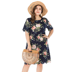 Large Women's Summer New Style Dress Fashion Short Sleeve Printed Dress Round Neck Ruffle Side Long Skirt