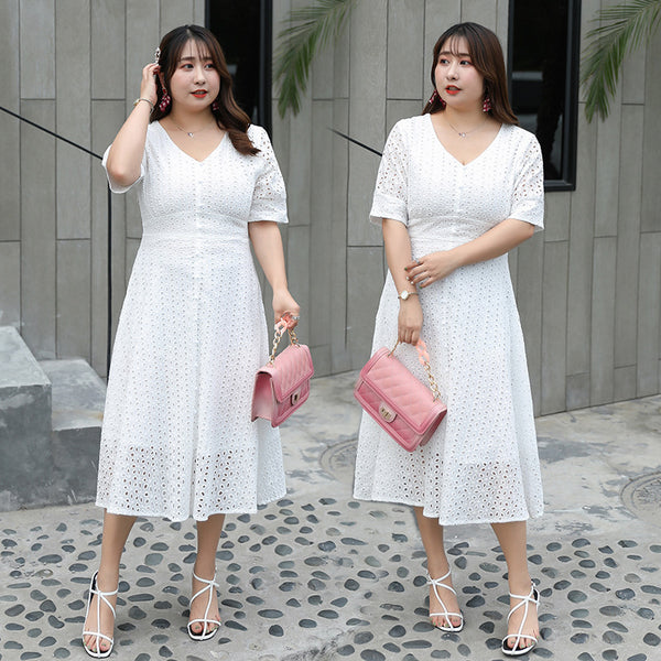 Large Size Women's Summer Clothes Fat New Waist-fitting Hollowed-out Lantern Sleeve A Dress