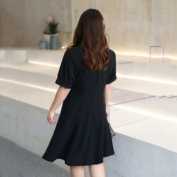 New Summer Big Size Women's Wear French V Collar Single Big Skirt Dress