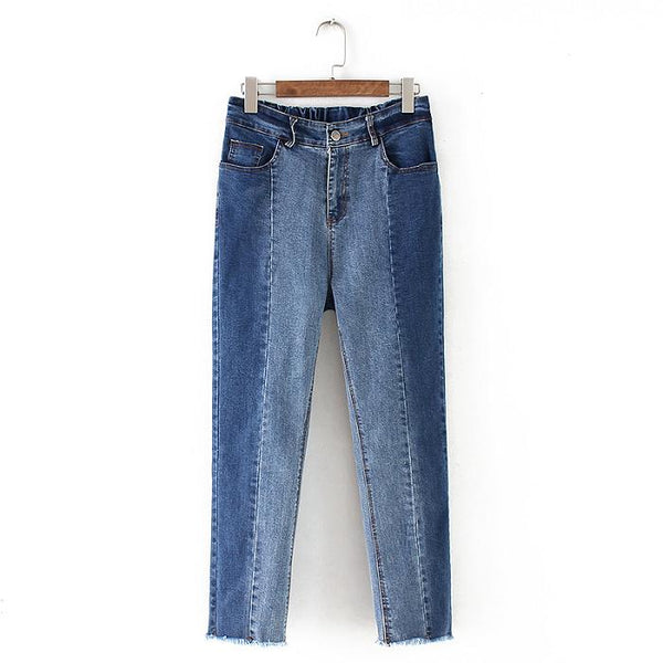 Gradient Thin Color Matching Jeans Fashion Pants