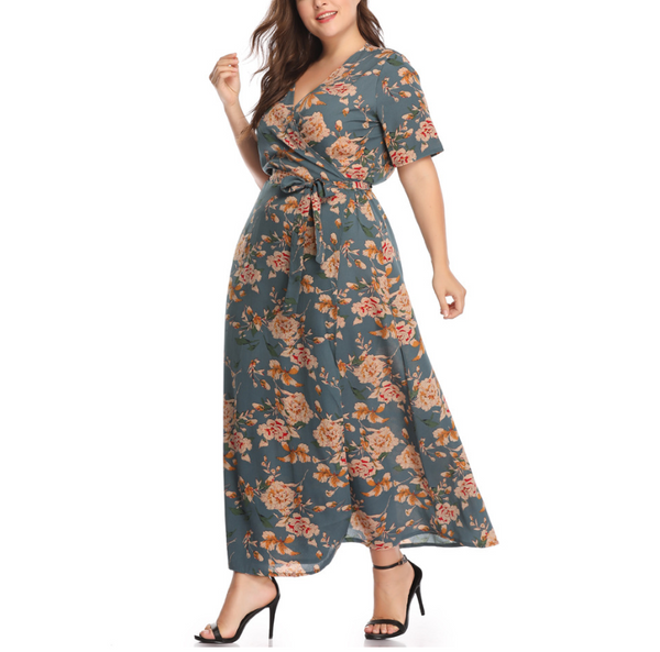 Plus-Size Sexy V-Neck Loose Print Dress