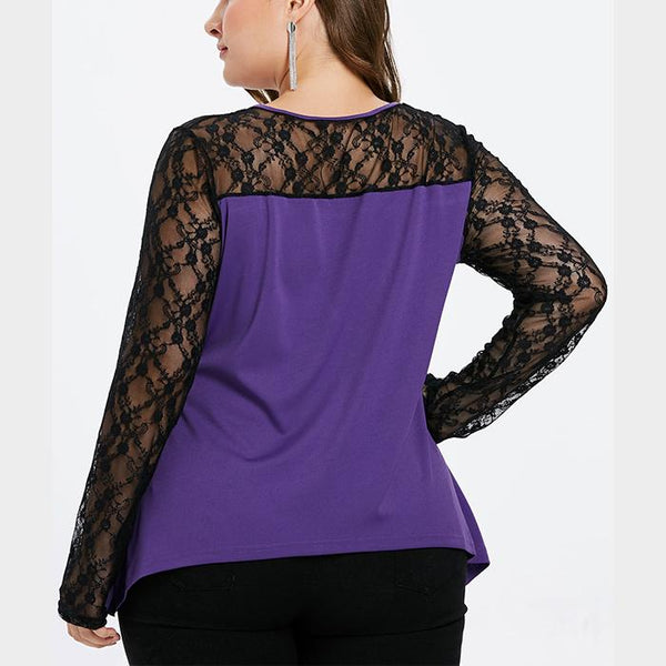 Plus-Size Round Collar Lace Splicing Long Sleeve T-Shirt