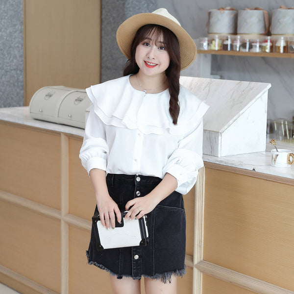 Spring New Big Size Women's Loose Sweet Collar Long-sleeved