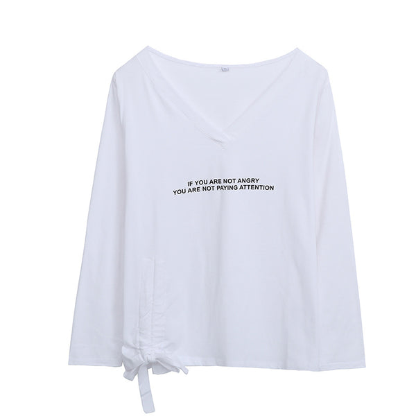 Spring 2020 new large women's fat mm casual loose V-neck letter printed drawstring long sleeve T-shirt
