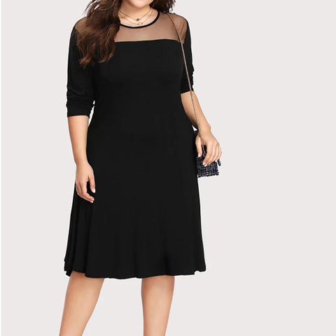 New Womens Plus Size Black White Blue Career Work Office Evening Dress