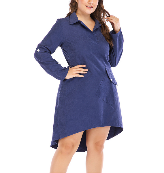 Plus-Size Solid Color Fashion Long Sleeves Lapels Dress