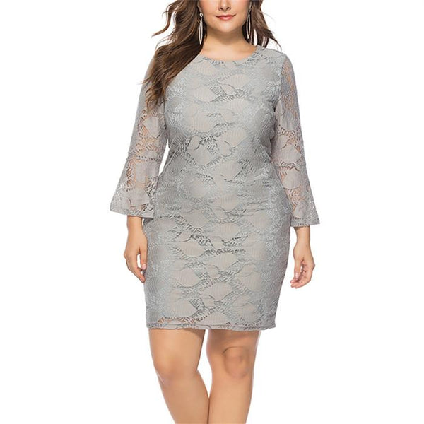 Fashion Plus-Size Long-Sleeved Lace Round Neck Mini Dress