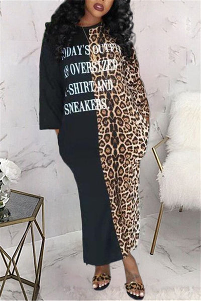 Leopard Patchwork Side Slit Casual Maxi Dress