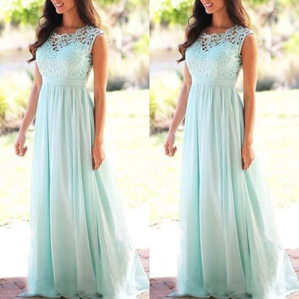 New women's round neck sexy lace evening dress solid color chiffon dress