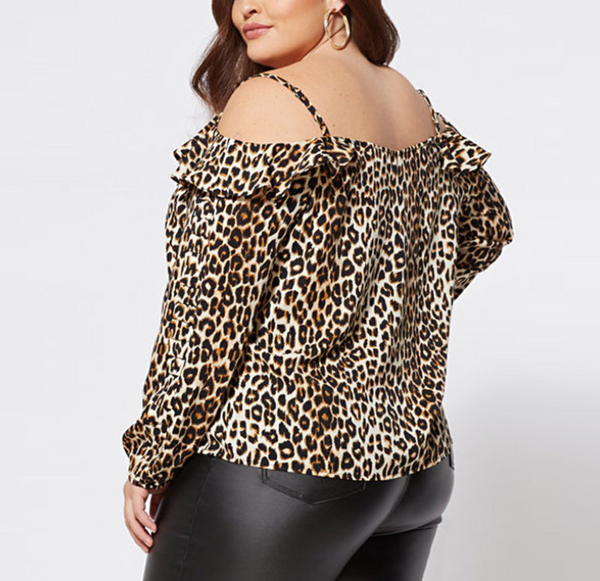 Plus-size leopard print long sleeves off shoulders shirt