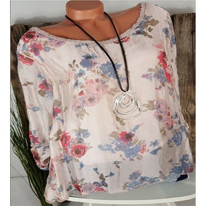 Plus-Size Printing Long-Sleeved Round Neck T-Shirt