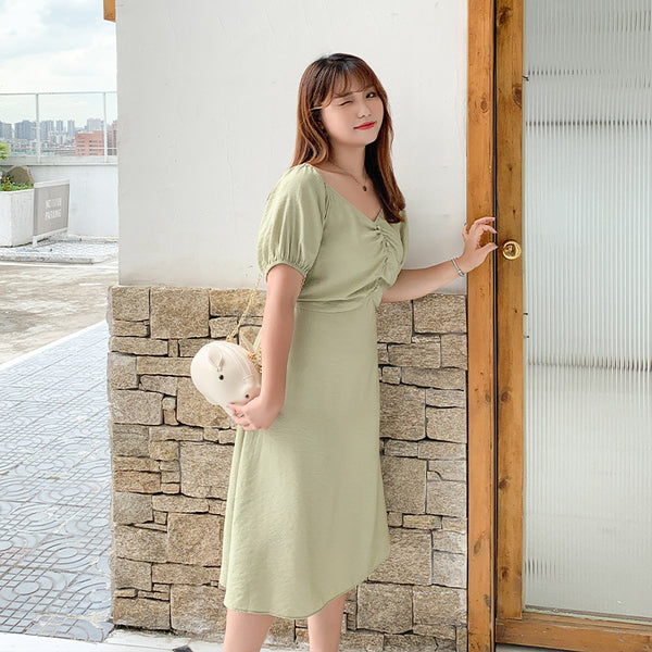 2020 Spring Summer New Large Women's Dress Fat Mm French V-neck Waist Closing Dress