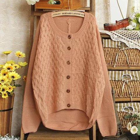 Loose retro thickened elbow patch knit large size cardigan