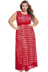 Red Flowery Lace Overlay Belted Curvy Maxi Dress