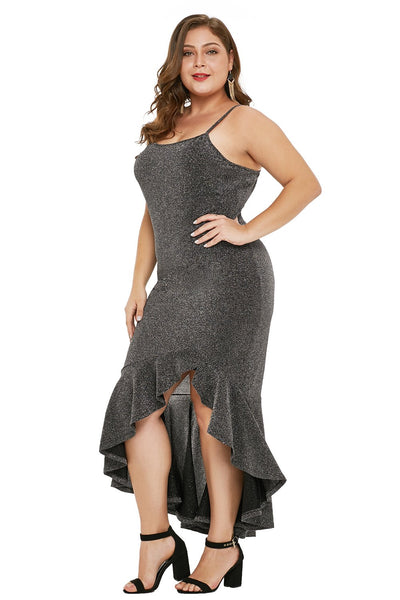 Charcoal True Shine Plus Size High-low Dress