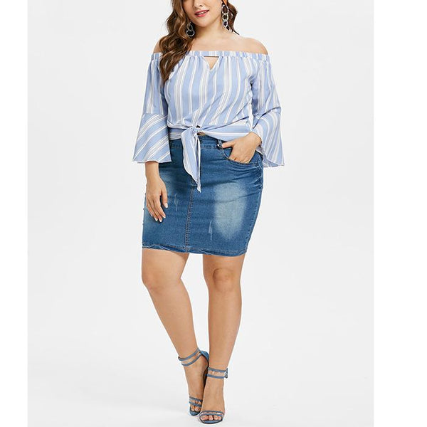 Plus-Size Striped Flared Sleeves Off Shoulder T-Shirt