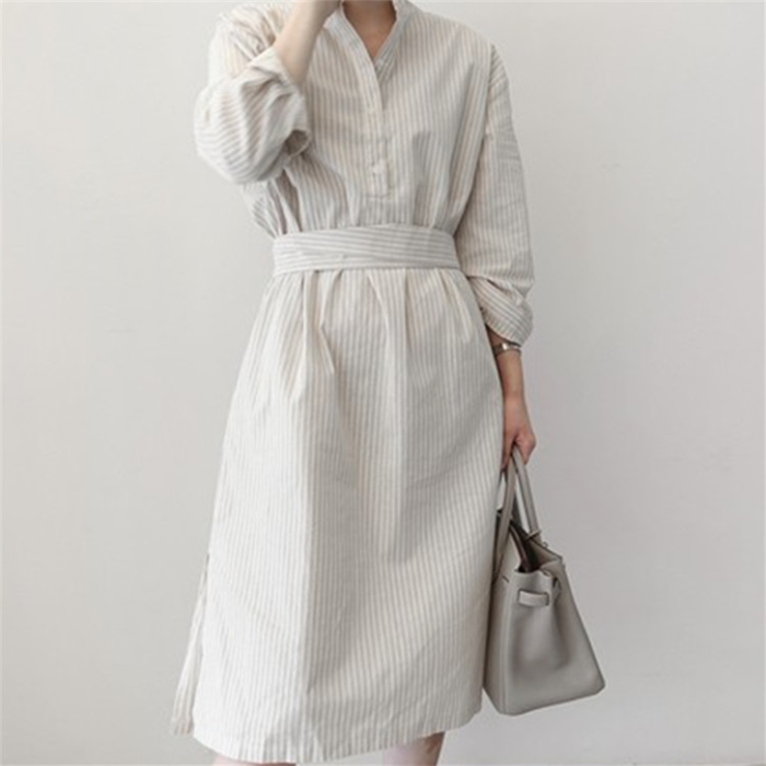 Casual long-sleeved striped shirt dress