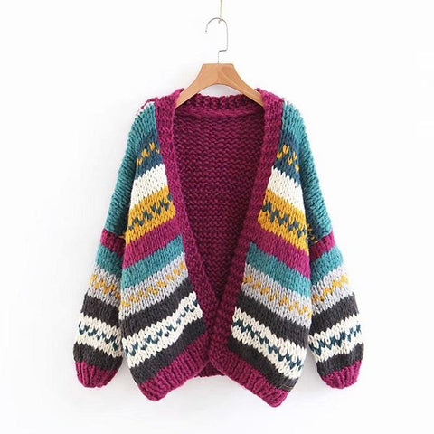 Wild Handmade Flower Line Color Knit Cardigan