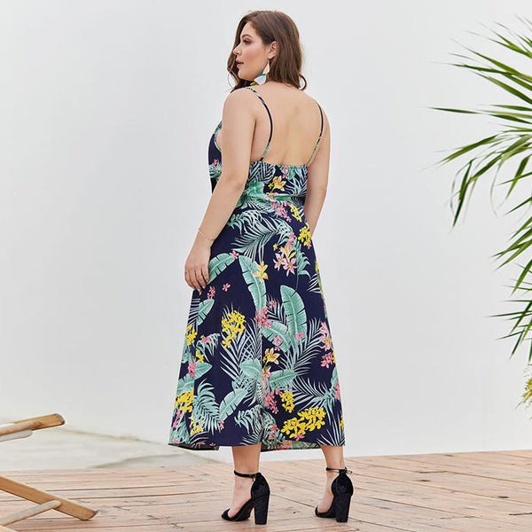 Plus Size V Neck Floral Print Slit Long Sling Dresses