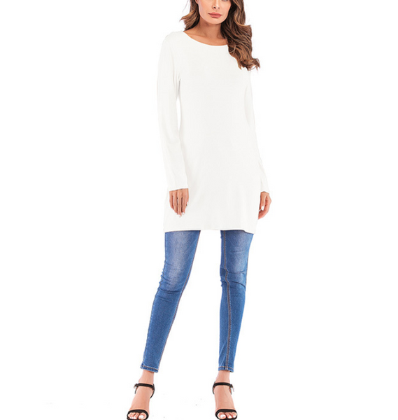 Plus-Size Pure Color Long-Sleeved T-Shirt