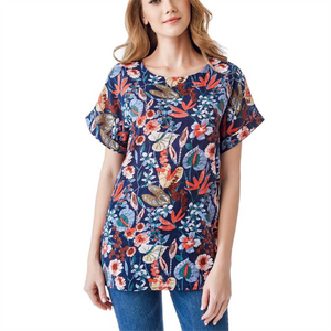 Plus-Size Printed Round Neck Short-Sleeved T-Shirt