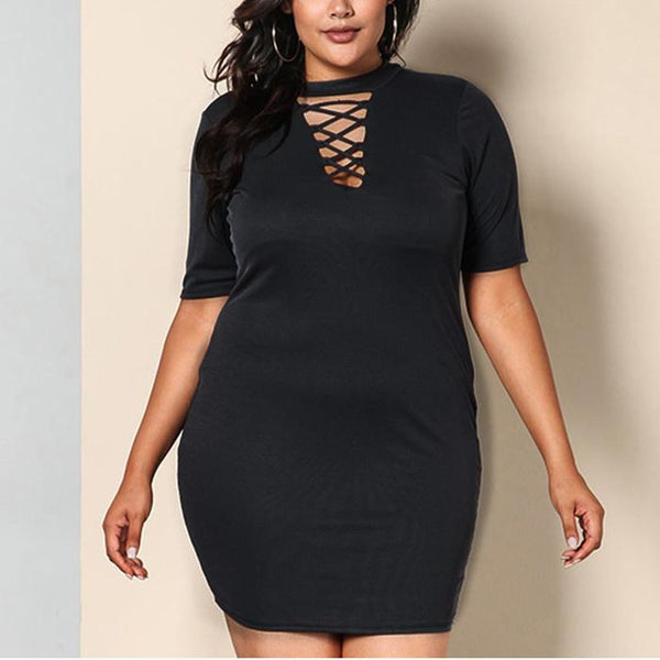 Plus-Size Solid Color Round Collar Sexy V Collar Hollow Out Dress