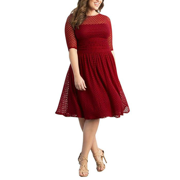Plus-Size Sexy Solid Color Lace Round Dots Dress
