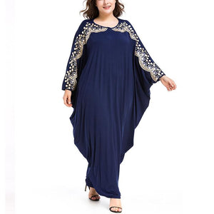 Plus-Size Splicing Loose Bat-Sleeved Dress
