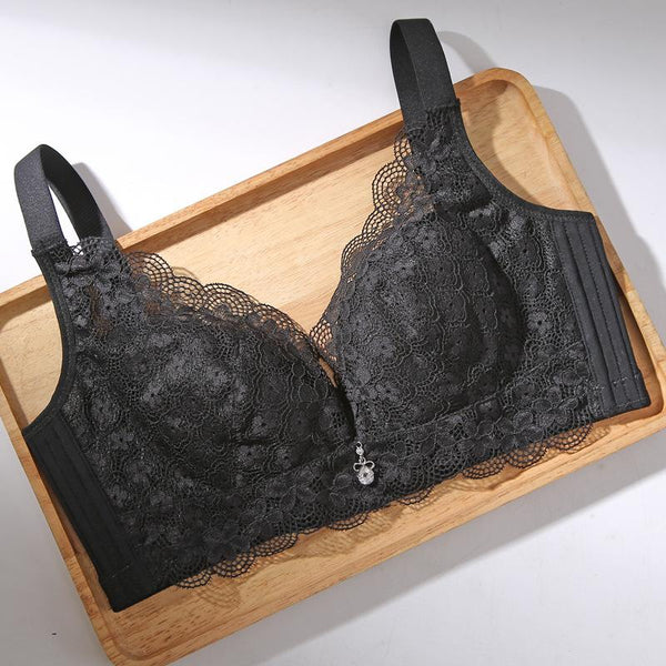 Sexy lace thin cup breathable no rim adjustment gathered bra