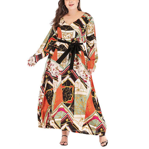 Plus-Size V-Neck Long-Sleeve Printed Splicing Dress
