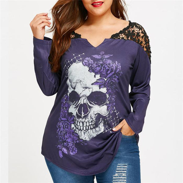 Plus-Size Long Sleeves Fashionable Lace Skull Print T-Shirt
