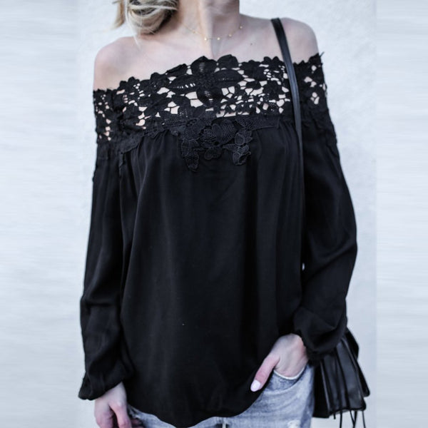 Sexy Off-The-Shoulder Lace Stitching Long Sleeves Shirt