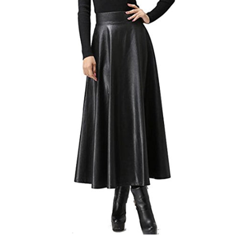 Long Faux Leather Skirts Woman's High Waist Midi Maxi Plus Size Skirt