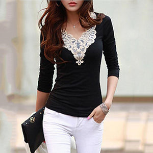 V-Neck Decorative Lace Long Sleeve T-Shirt