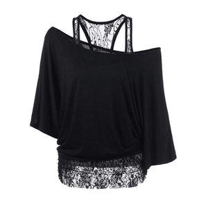 Open Shoulder  Lace Plain  Half Sleeve Plus Size T-Shirts