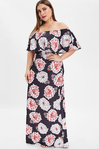 CHICWESTYLE Floral Print Off The Shoulder  Plus Size Dresses