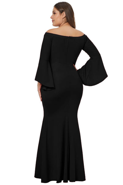 Chic Black Off Shoulder Slit Plus Size Mermaid Dress