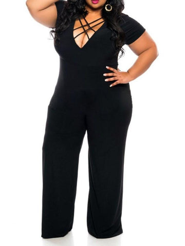 Full Length Office Lady Plain Straight Loose Jumpsuit