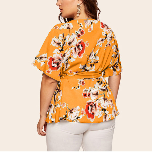 Women Blouse Plus Size Casual V-neck Bow Tie Sashes Short-sleeved Printed Waist Belt