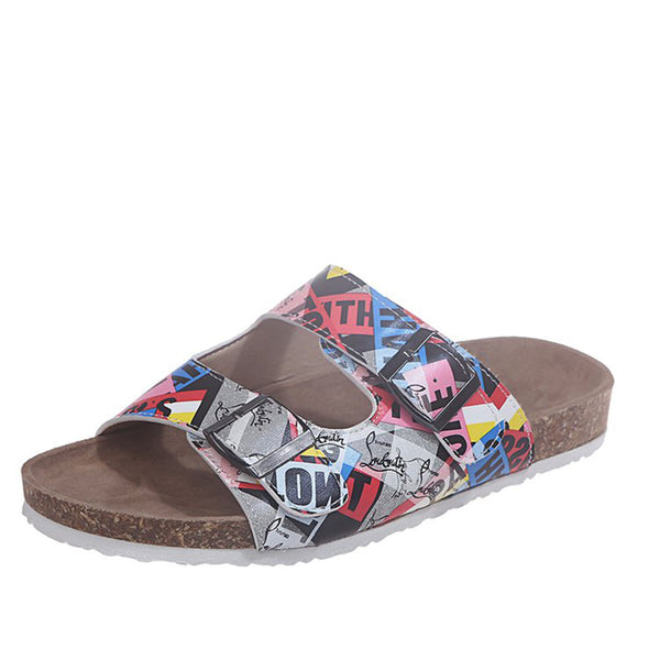 Summer Women Beach Cork Slippers Ladies Casual Double Buckle Shoes