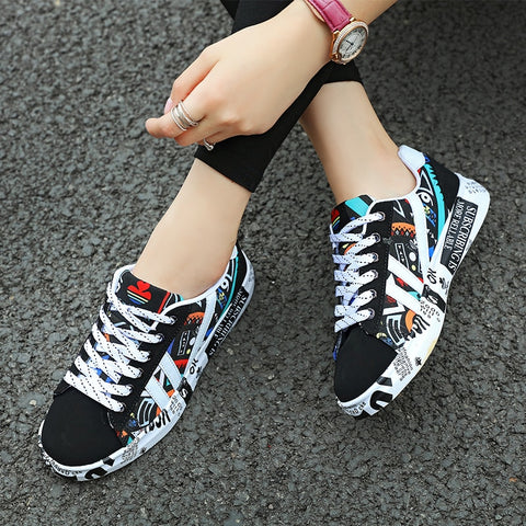Summer Woman Sneakers White Casual Shoes Lovers Printing Fashion Flat Ladies Vulcanized Shoes