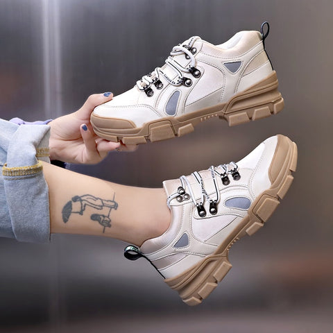 Women Shoes Fashion Tenis Platform Chunky Sneakers Breathable Woman Casual Sneaker White