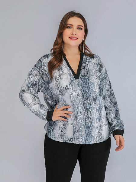 Fashion Spring Autumn Plus Size Tops for Women Large Long Sleeve Loose Casual Serpentine V Neck T-shirt