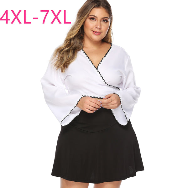 Fashion Summer Plus Size Tops for Women Blouse Large Long Sleeve Casual Lace Slim Sexy V Neck Shirt White