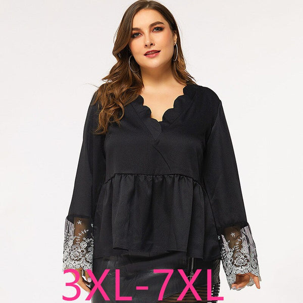 Spring Autumn Plus Size Tops for Women Large Long Sleeve Loose Casual Lace Pleated V Neck T Shirt Black