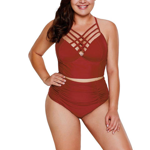 Women Gather High Waist Large Size Triangular Body Swimsuit
