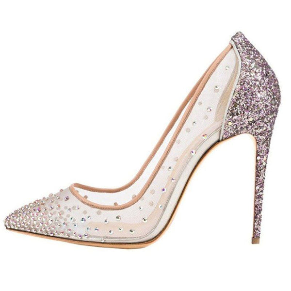 Stiletto Heel Rhinestone Slip-On Pointed Toe Casual Plain Thin Shoes