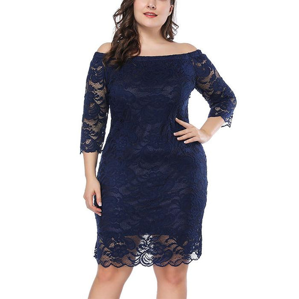 Plus-size pure color lace loose one word shoulder cropped sleeves mini dress