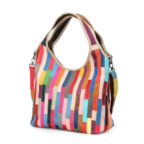 Color Leather Striped Stitching Shoulder   Diagonal Package